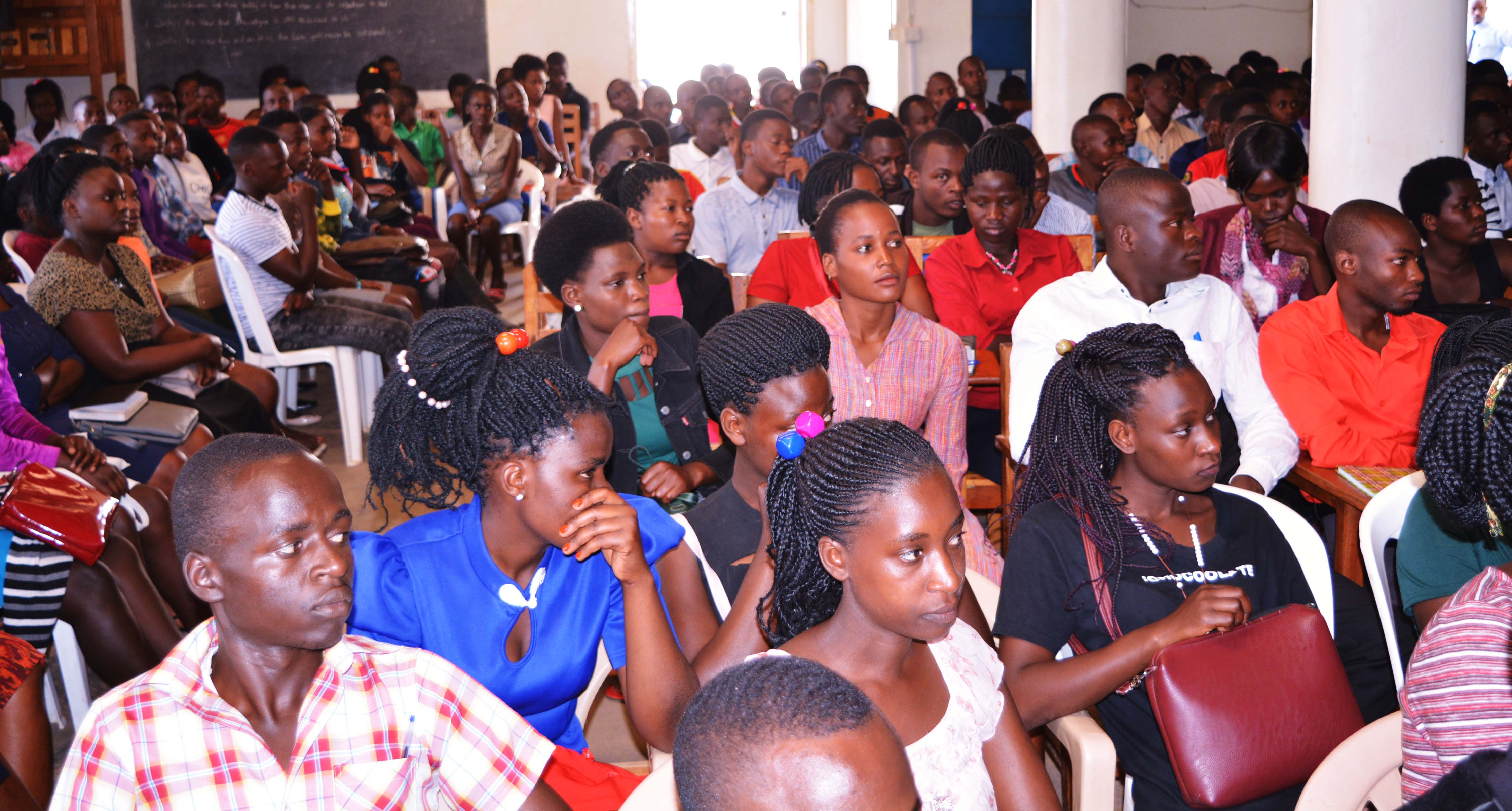 Freshers attending their first community hour fellowship in the University main hall