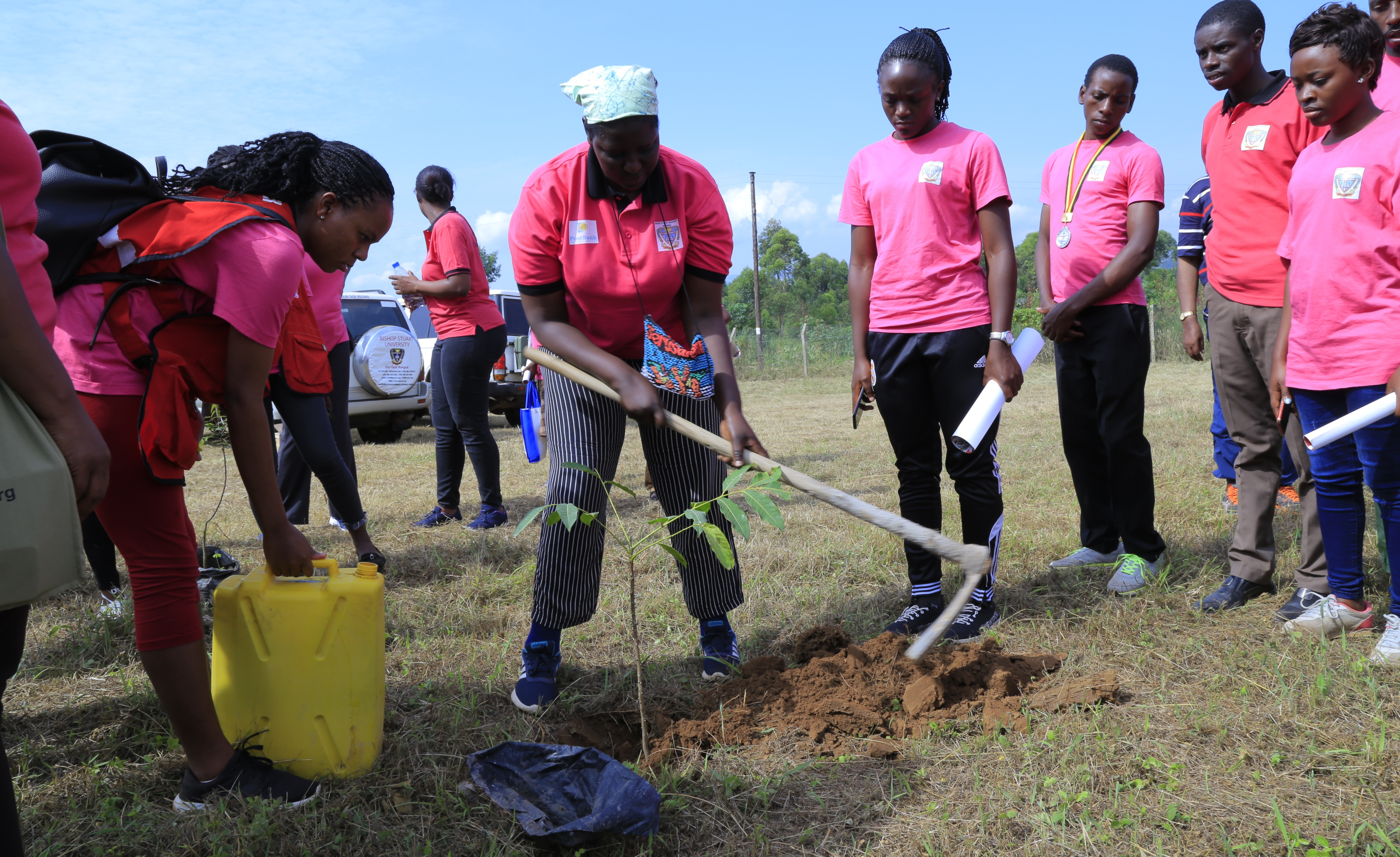 The VC Prof. Maud Kamatenesi-(Ph.D.) planting a Medicinal Tree