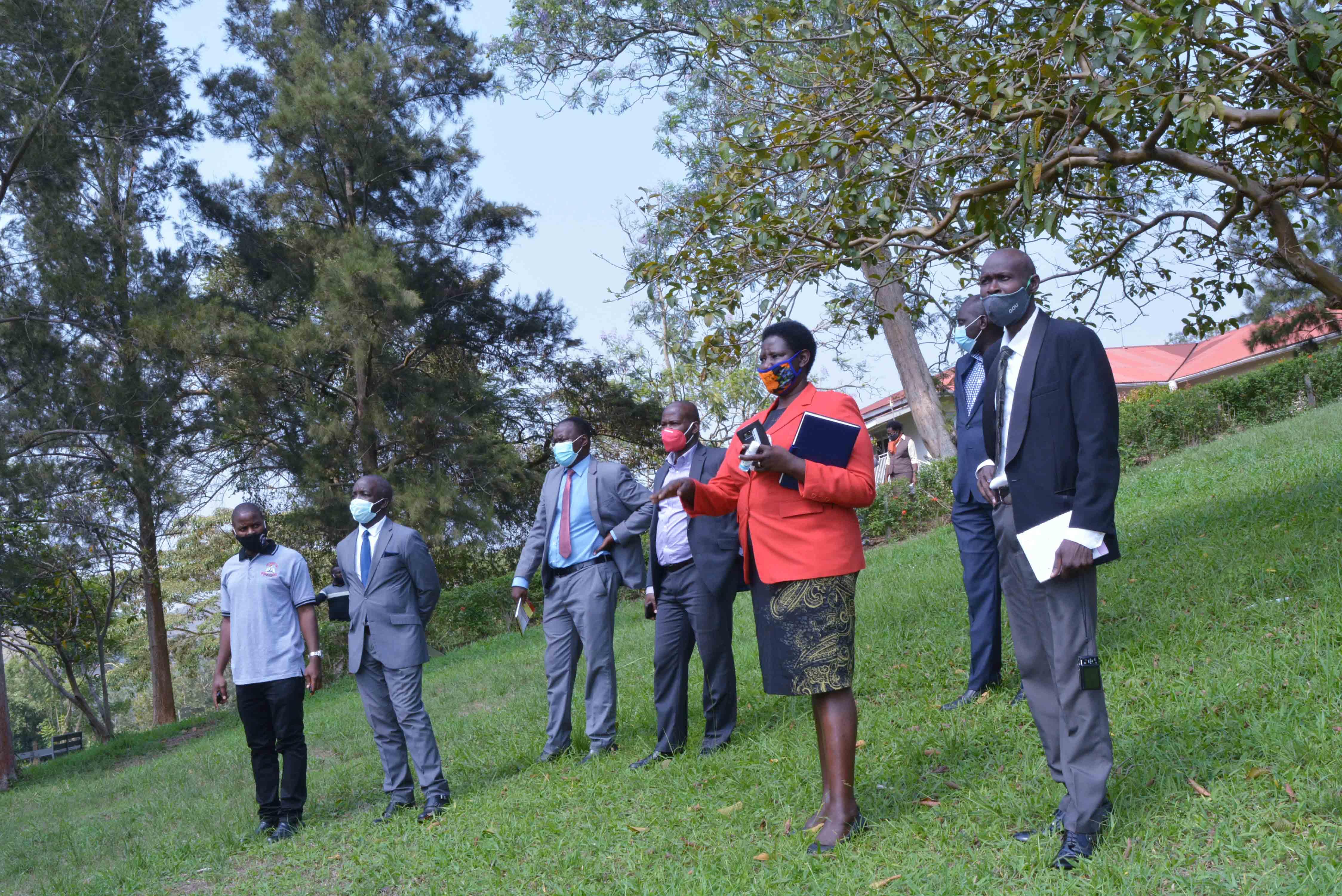 Prof. Maud Kamatenesi Mugisha with NCHE Officials touring around campus