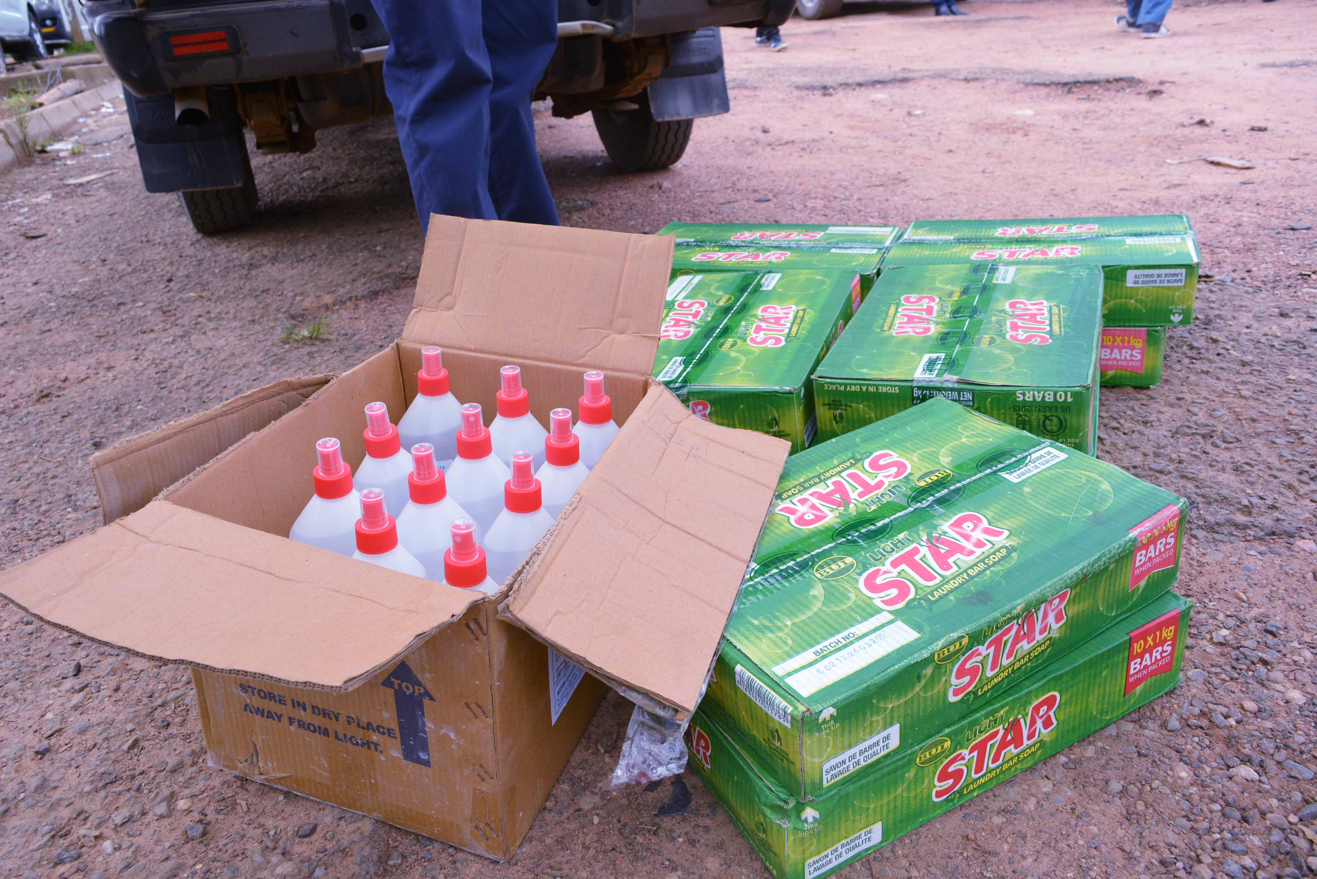 Bottles of sanitizer and some of the boxes of washing soap