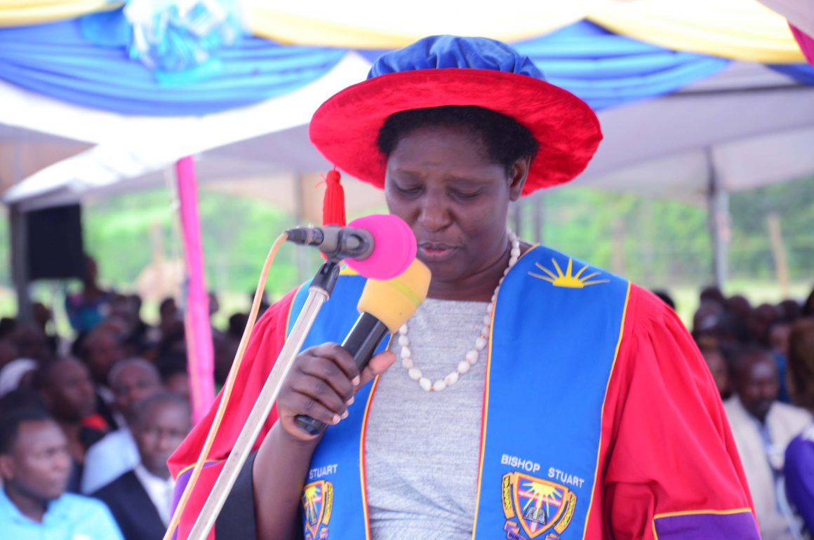 Prof. Maud Kamatenesi (PhD) Vice-Chancellor Bishop Stuart University delivering her speech at BSU's 15th Graduation Ceremony held on 18th of October 2019