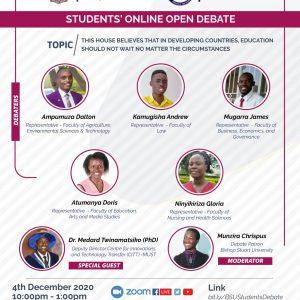 Bishop Stuart University Student's Online Open Debate