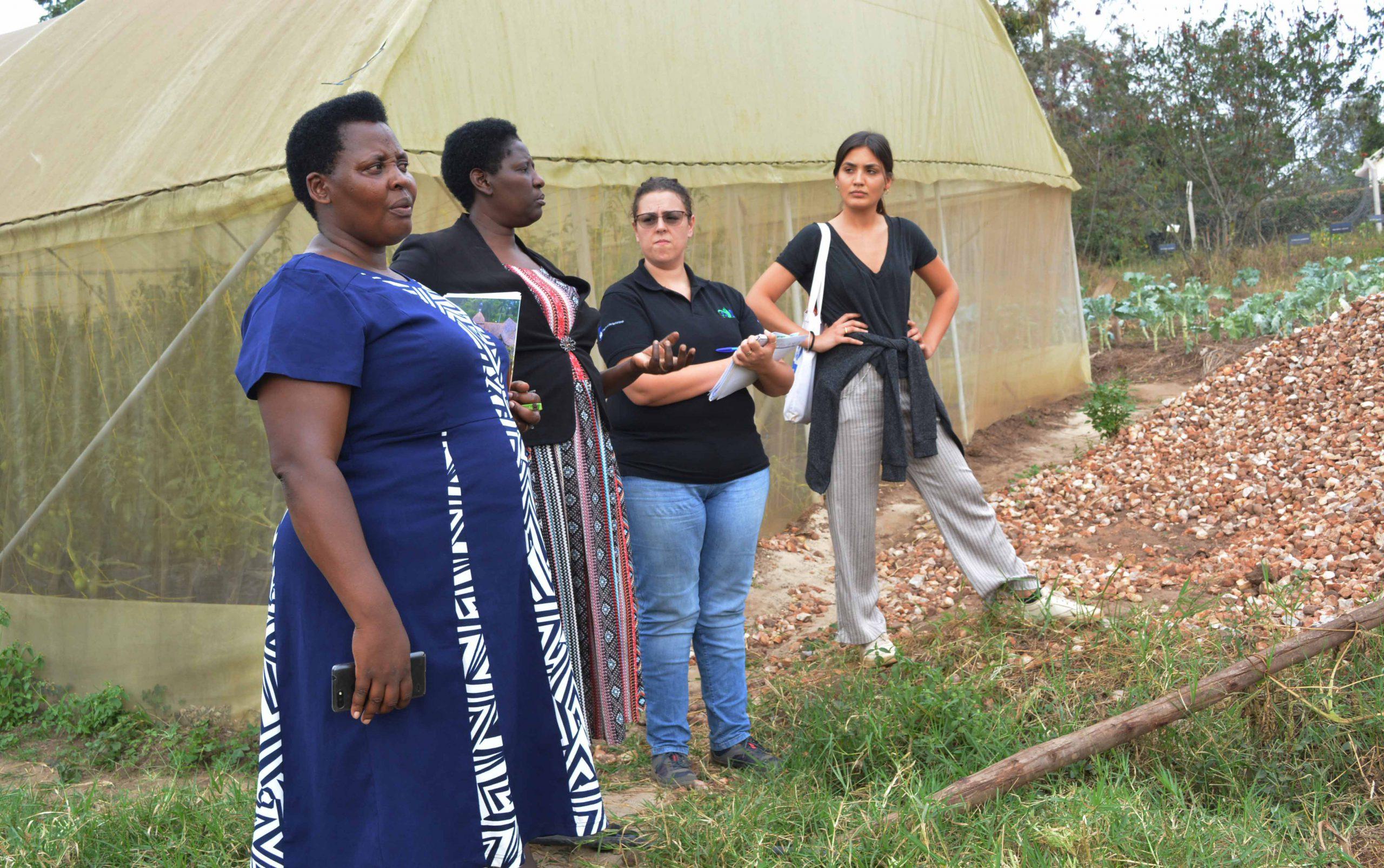 AVSI team with the university Vice Chancellor Prof. Maud Kamatenesi Mugisha (PhD) at the construction grounds