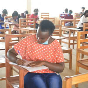 A student sitting for her end of Semester 1 examination 2020